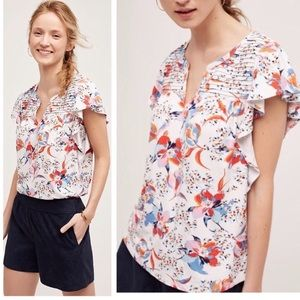 Anthro Meadow Rue Floral Ruffle Blouse Top S